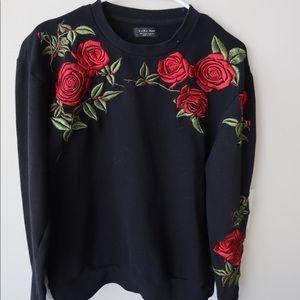 Zara Men Black hoodie with Roses Design